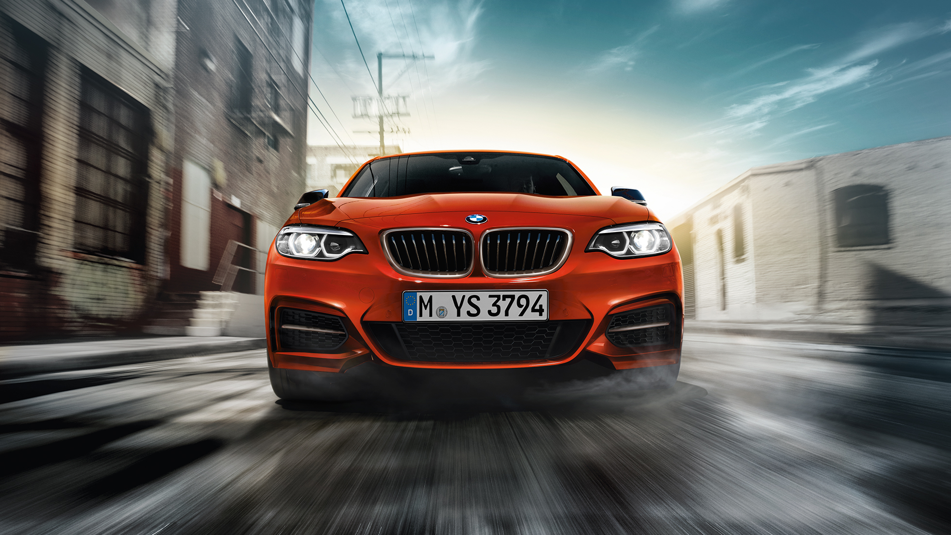 Design voorkant BMW M240i Coupé F22 2017 Sunset Orange metallic vooraanzicht